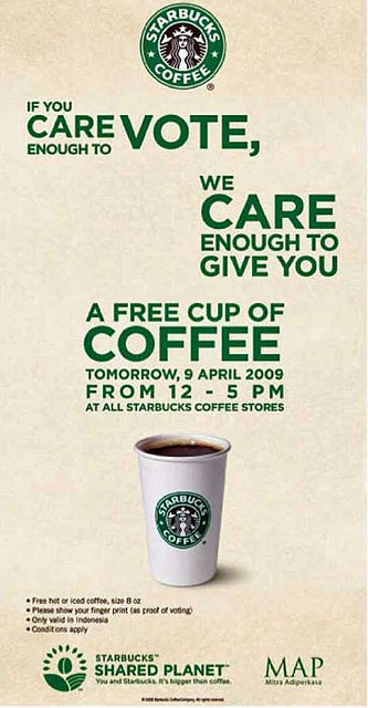 starbucks gratis untuk yang memilih di pemilu 9 april 2009     Get Free Starbucks Giftcard !! Click on Photo