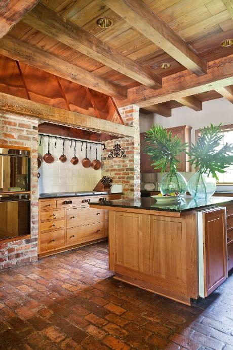 Reclaimed brick as kitchen floor indoors outdoors for Floor brick