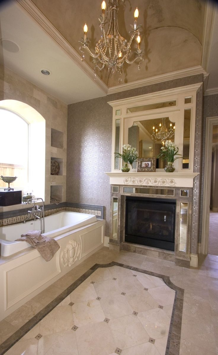 Fireplace beautiful bathrooms pinterest for Pretty bathrooms