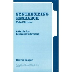 synthesizing research a guide for literature reviews cooper The handbook of research synthesis is the definitive reference and how-to  manual  editors harris cooper and larry v hedges have brought together  leading  of the research synthesis process—problem formulation, literature  search and.