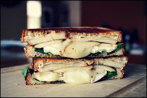 Brie, Pear, And Mustard Grilled Cheese Recipe — Dishmaps