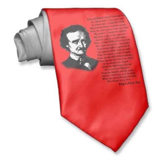 Edgar Allan Poe Poem ALONE Neck Tie from Zazzle.com: pinterest.com/pin/447474912946647571