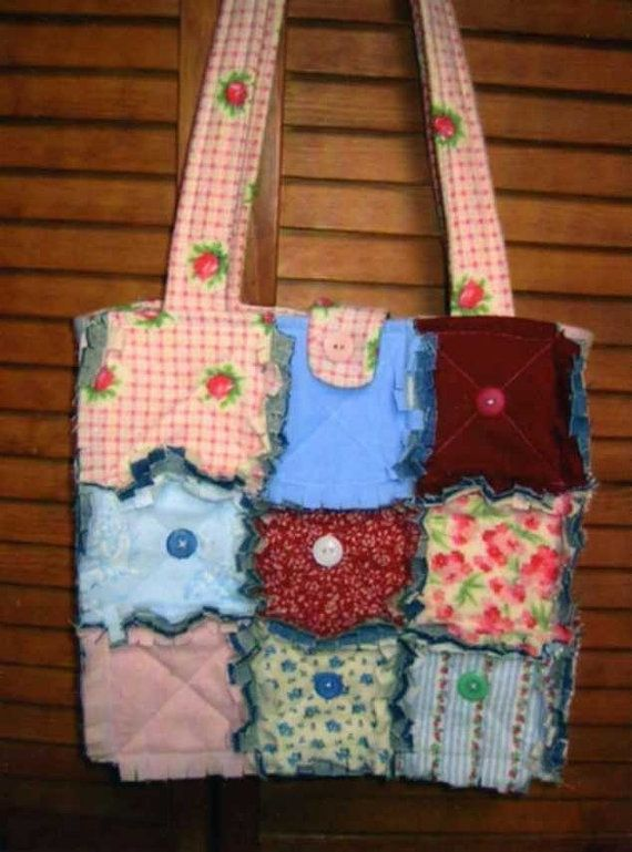 Rag Quilted Handbag Pattern : Free Rag Quilt Pattern Tote Bag - Blue Crossbody Bag