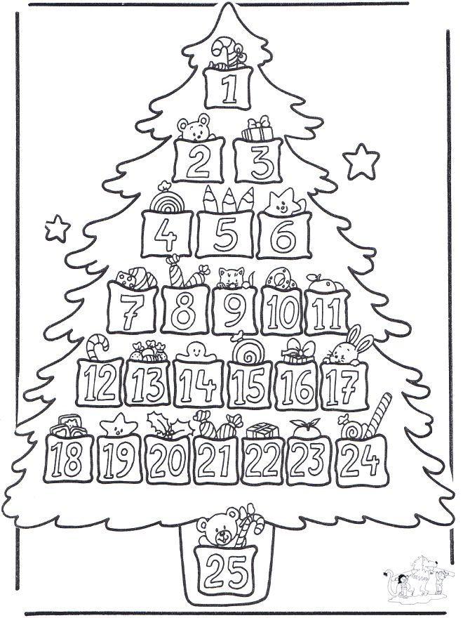 advent calendar coloring page crafts pinterest