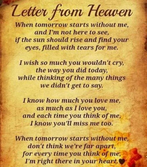 Letter from heaven i miss you pinterest