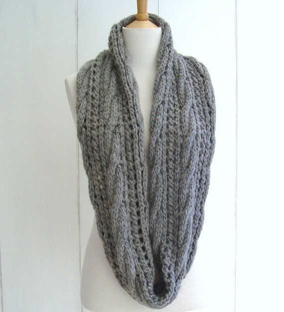 Knitting Pattern For Beanies : Quick and Easy KNITTING PATTERN for Chunky Cable Lace Infinity Scarf Instant ...
