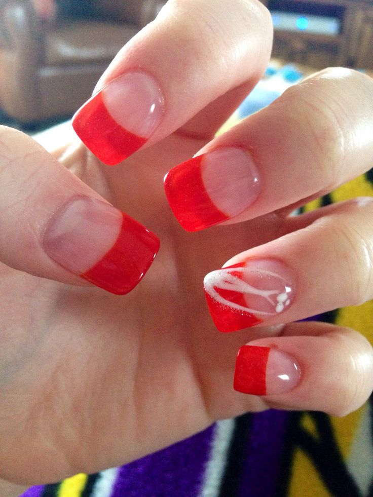 Red French Tip Solar Gel Nails | NAILS & MAKEUP | Pinterest