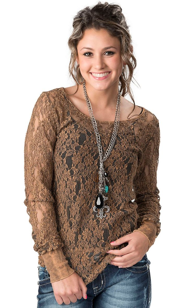 Women's Distressed Brown Lace Long Sleeve Fashion Top