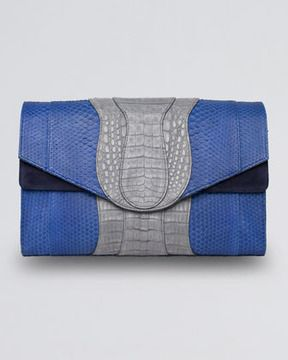 ... Oversized Python  Crocodile Clutch Bag, BlueNavy on shopstyle