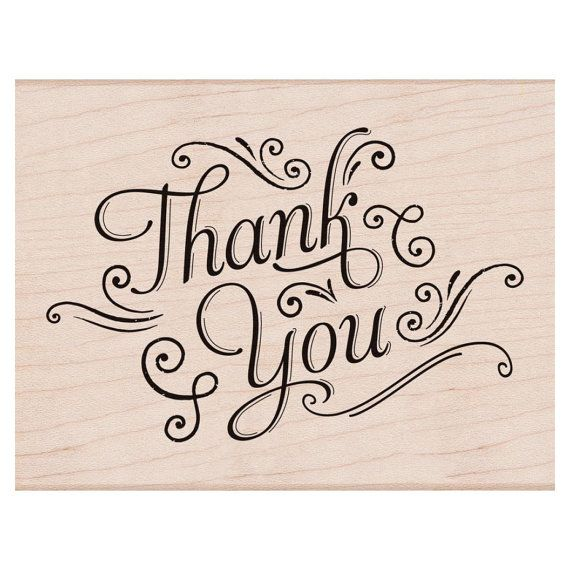 Thank you with flourishes stamp woodblock craft stamp Thank you in calligraphy writing
