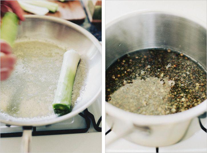 braised-leeks-muscovado-lentils: learning how to braise leeks