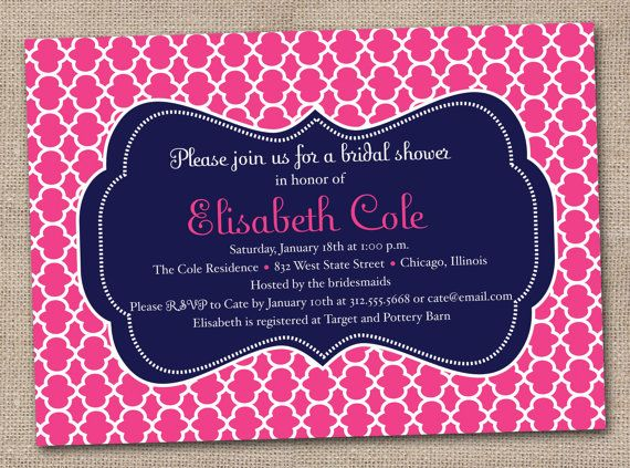 pink and navy bridal shower invitation