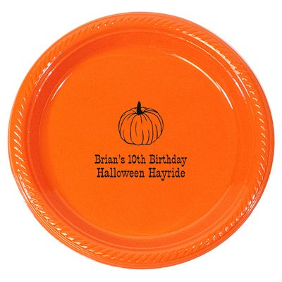 Personalized Pumpkin Time Plastic Plates