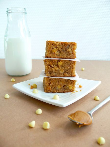 For the Biscoff lovers, Banana Biscoff White Chocolate Chip Blondies