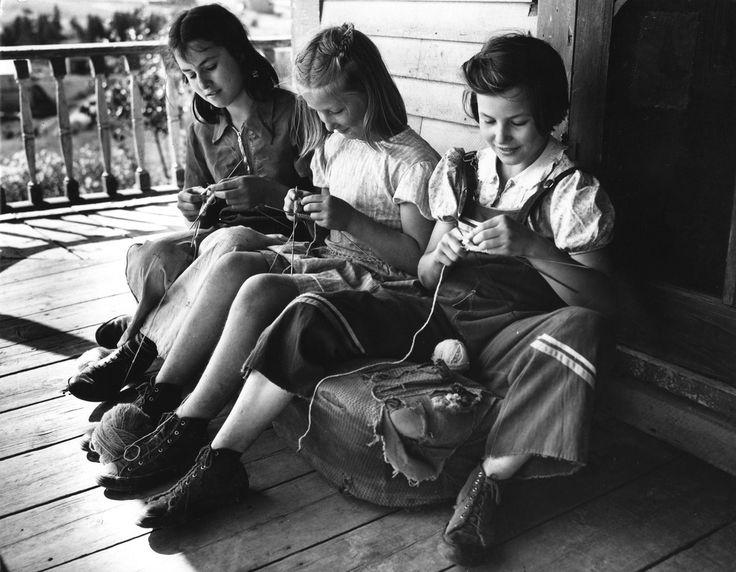 Leonard Gagnon's daughters knitting Fort Kent, Aroostook County, Maine, 1942