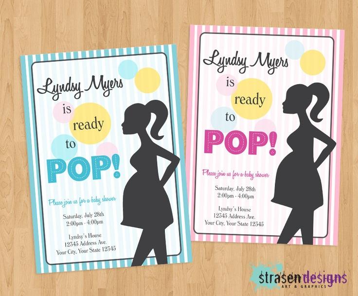 ready to pop baby shower custom invitations printable