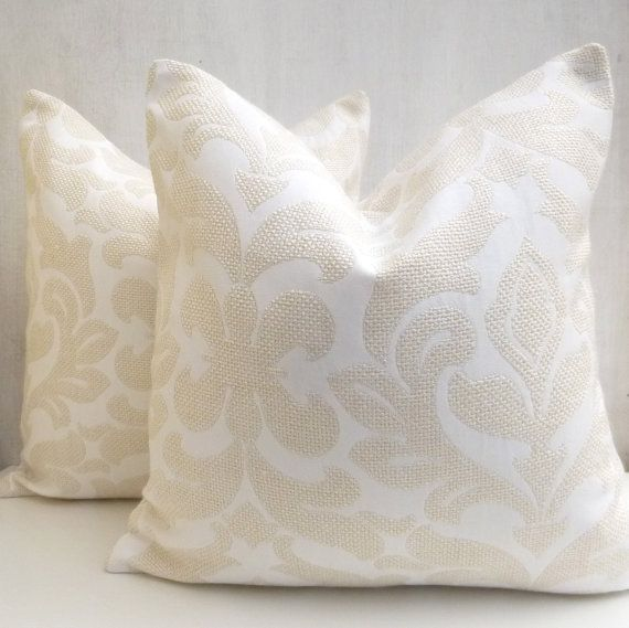 White Cream Throw Pillows : White and Cream Sofa throw pillows, White Decorative euro shams, Floral Toss Cushions 40x40cm ...