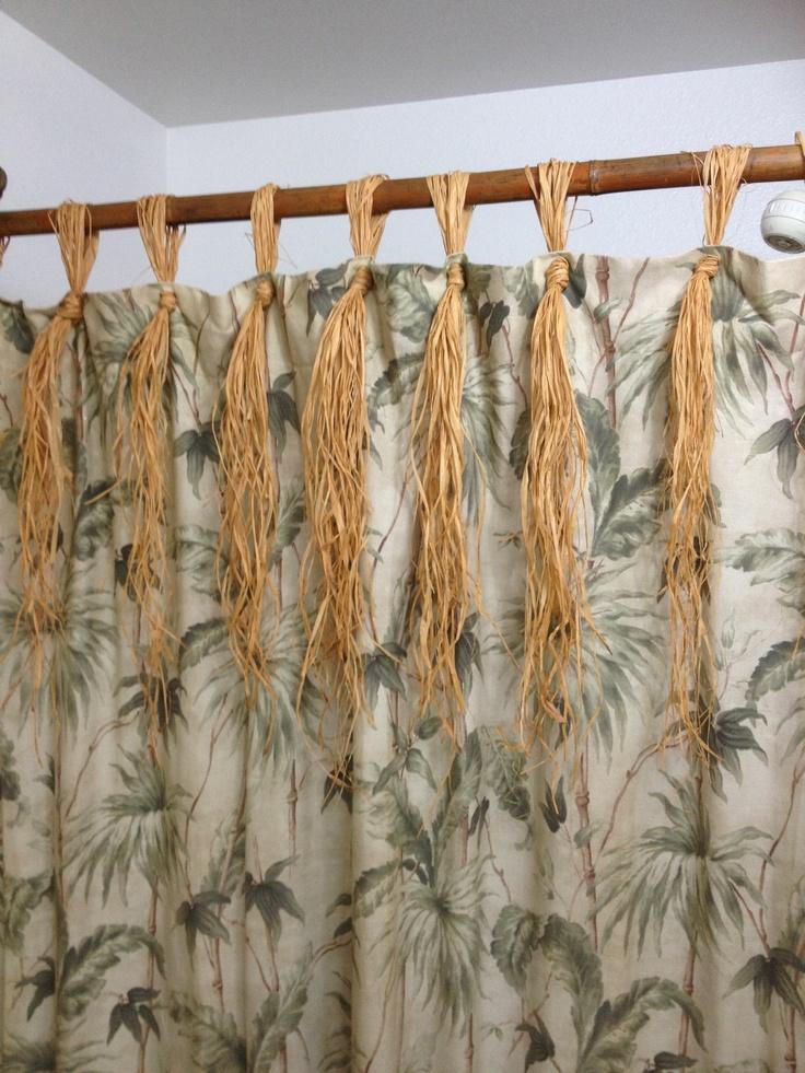 Bamboo shower curtain rod & raffia.   For the bath   Pinterest