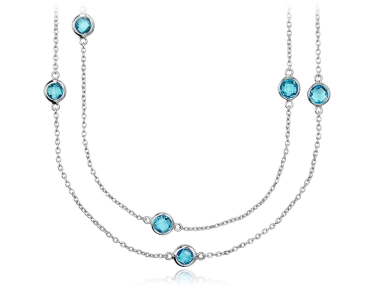 Blue Topaz Chain Necklace in Sterling Silver #BlueNile