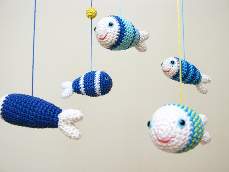 Baby mobile nursery mobile nursery decor fish decor blue sea ani