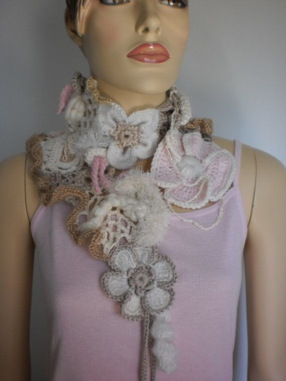 Delicate Cocktail  Crochet Scarf  Spring Fashion  Lace Scarf Fashion Scarves To Crochet