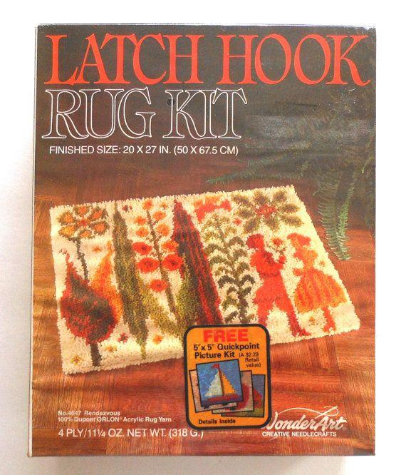 """Vintage Trees & People Latch Hook Rug Kit """"Rendezvous"""
