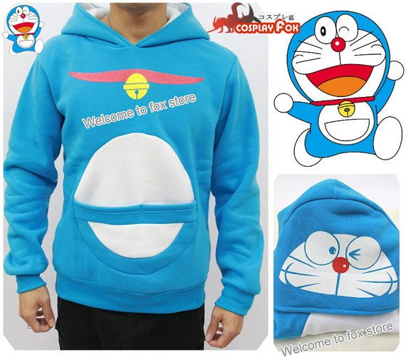 Doraemon cosplay thick hoodie jacket unisex blue by TheFoxCosplay, $28.99