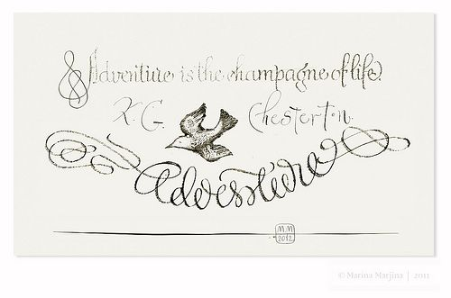 Sketch of postcard / Quote. K.G.Chesterton by Marina Marjina