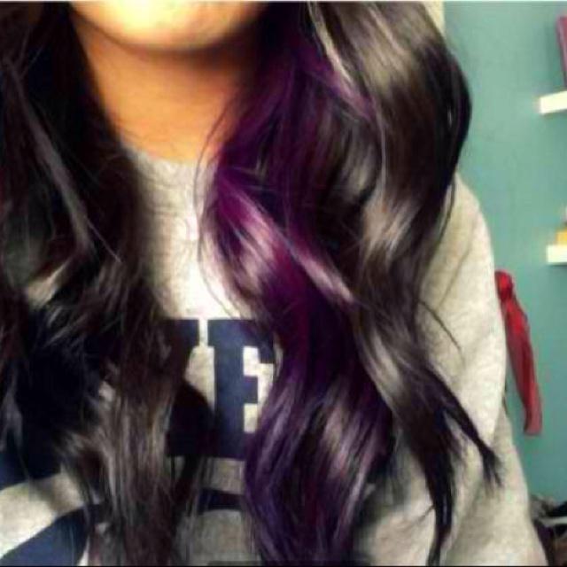 Purple peekaboo highlights | Get your hair did! | Pinterest