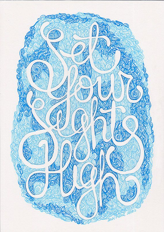 set your sights high quote blue ink hand drawn by Helloembrace, $30.00