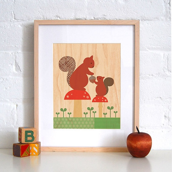 Woodland Squirrel Artwork via- Petite Collage on etsy.com