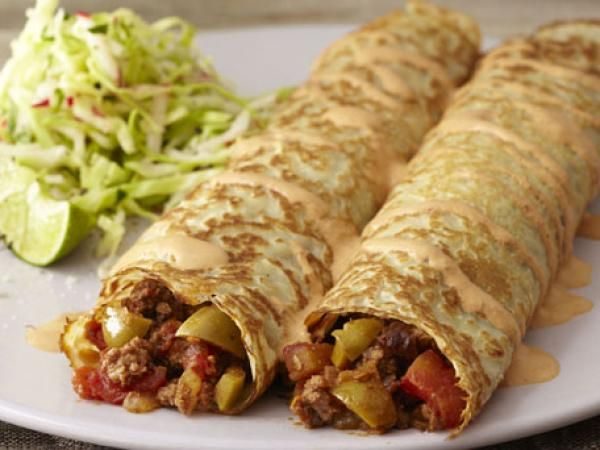 Spicy Beef Picadillo Crêpes with Chipotle Crema Recipe