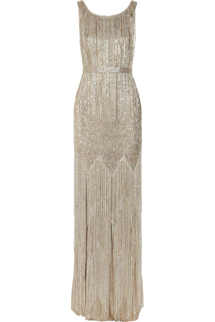 Silver beaded gown by oscar de la renta glitter and for Silver beaded wedding dress