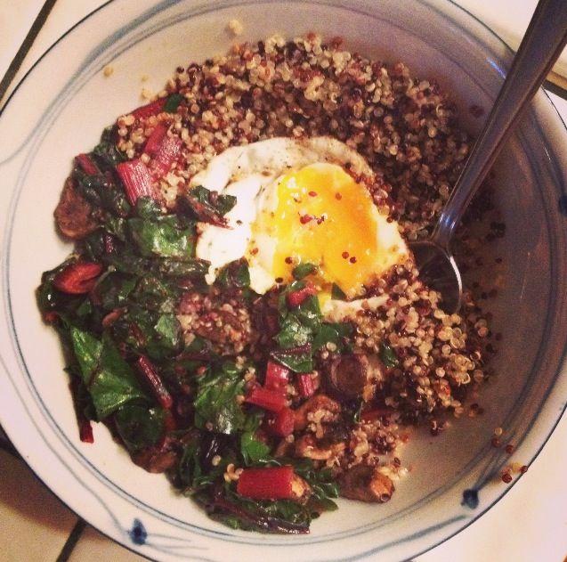Quinoa chard mushroom and a fried egg vegetarian dinner for fall