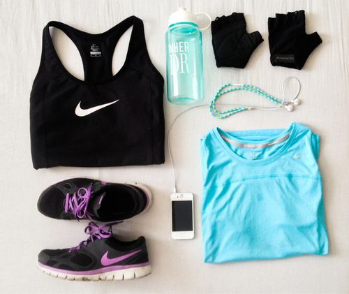 Nike running outfit blue and black <3