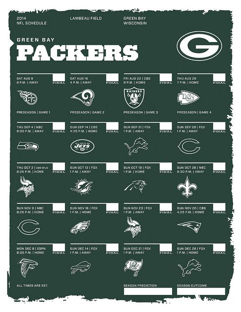 Green Bay Packers 2014 Schedule