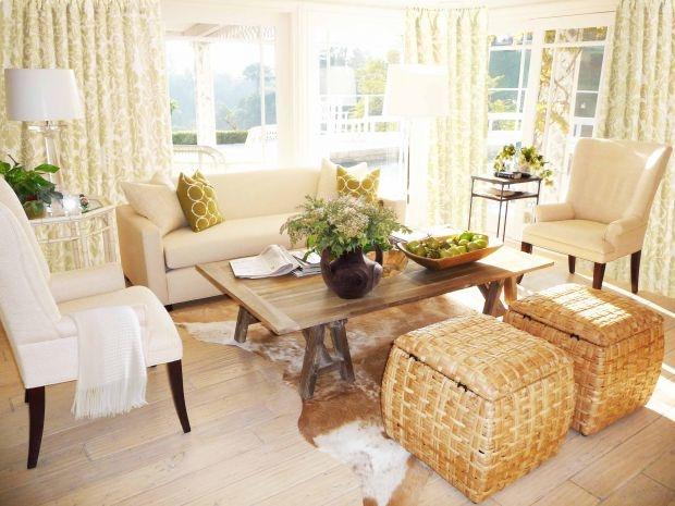light wood tones. creams. rug.