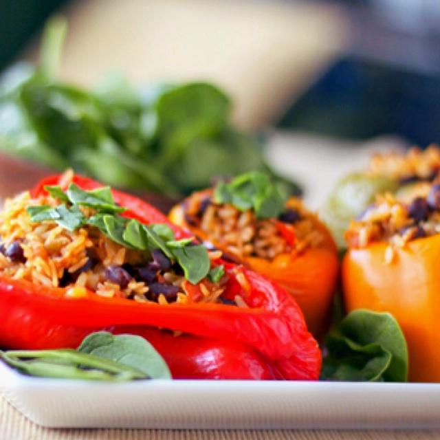 Vegetarian stuffed peppers! | oh so good vegies | Pinterest