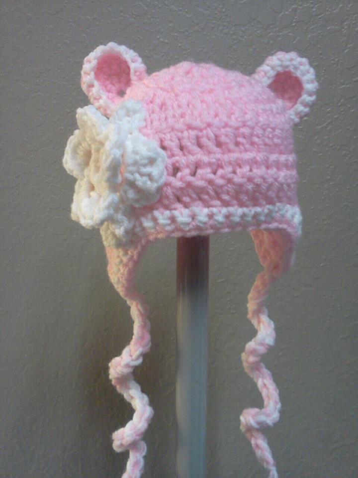 Crochet Patterns Baby Hats With Flowers : Crochet baby hat with flower Crochet Patterns Pinterest