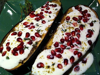 Roasted Eggplant with Pomegranate & Buttermilk Sauce