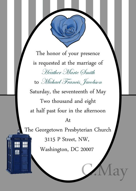 doctor who tardis and rose inspired wedding invitations by cmay01 35