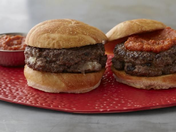 Guy's Killer Inside Out Burger With Worcestershire Tomato Ketchup: These burgers have a surprise bacon, chorizo and cheese filling!