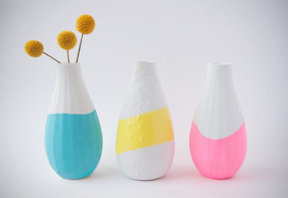Neon dipped vases from IKEA DIY