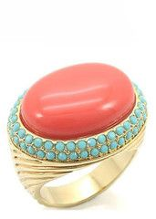 Coral & Turquoise Cocktail Ring