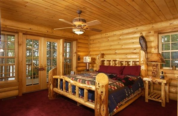 Master Bedroom Lakehouse Log Home Pinterest