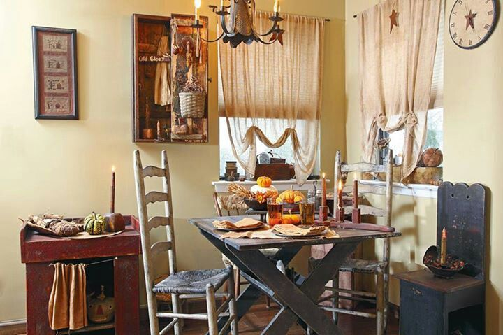 Very inviting breakfast nook | Primitive Country Decor | Pinterest