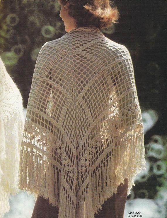 Crochet Patterns For Shawls Vintage : Vintage Shawls Crochet Pattern Booklet - 1970s Bernat All ...