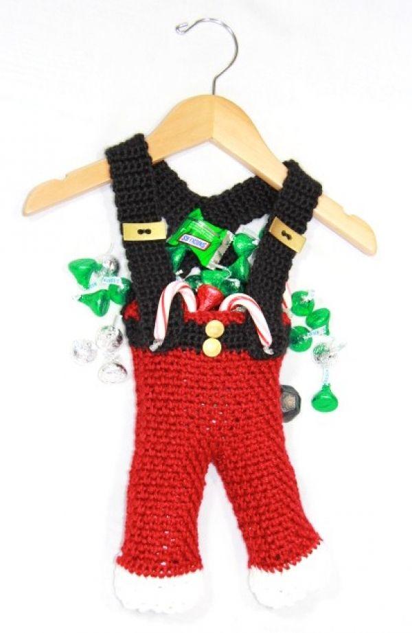 free crochet Santa Pants Bag pattern