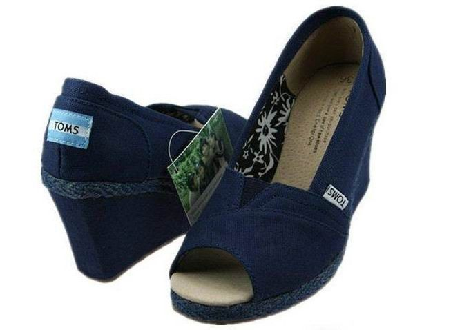 toms wedges shoes navy canvas womens that style