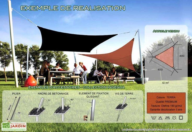 Voile d 39 ombrage ingenua 4x4x4 premium terra - Toile pour terras exterieur ...